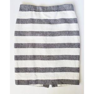 J. Crew Striped Pencil Skirt Basketweave Linen 00